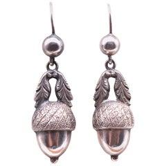 Antique Silver Acorn Earrings