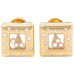 Chopard 18 Karat Yellow Gold Happy Diamonds Square Earrings