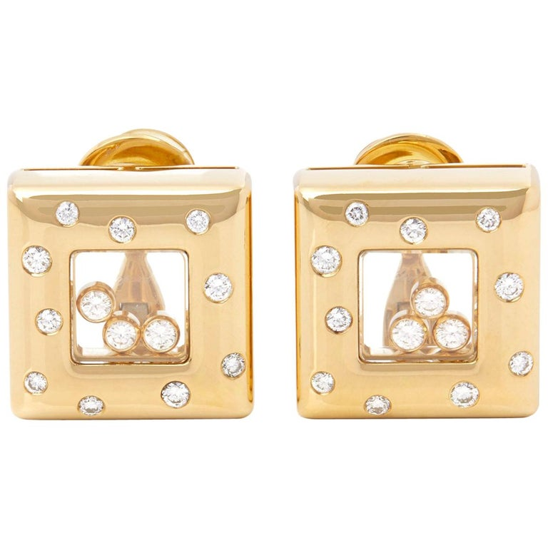 Chopard 18 Karat Yellow Gold Happy Diamonds Square Earrings For Sale