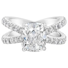 GIA Certified Cushion Cut Diamond Split-Shank Engagement Ring