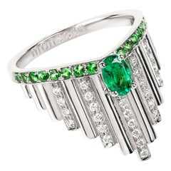 Monseo White Gold Emerald and Diamonds Art Deco Cocktail Ring
