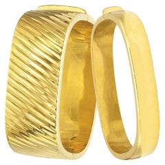 14 Karat Italian Yellow Gold Polished Bangle Bracelets