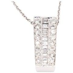 Bold 14 Karat White Gold SI1,G,0.43 Carat Diamond Bar Pendant Sliding Necklace