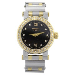 Movado Vizio Black Dial Diamond Bezel Ladies Watch