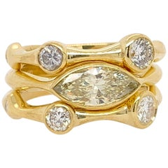 Yellow Gold 1.42 Carat Natural Marquise & Round Diamond Cocktail Stack Ring Set