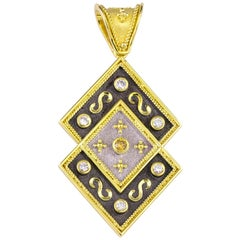 Georgios Collections Reversible 18 Karat Gold Diamond and Coin Pendant