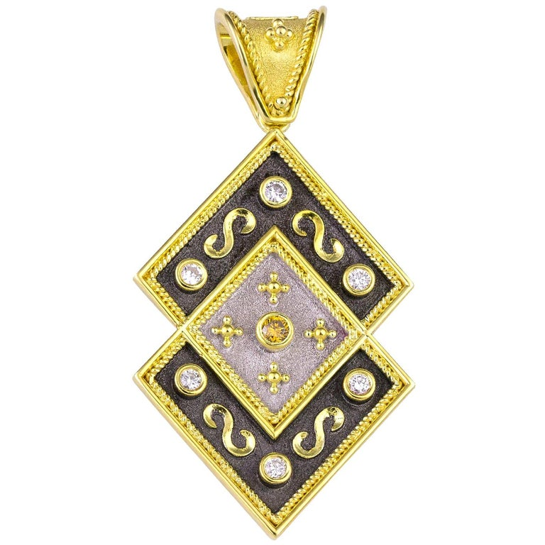 Georgios Collections Reversible 18 Karat Gold Diamond and Coin Pendant For Sale