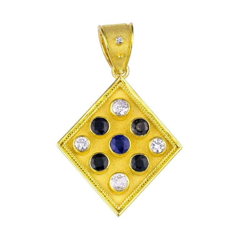 Georgios Collections Reversible 18 Karat Gold Sapphire and Diamond Coin Pendant For Sale