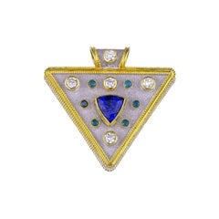 Georgios Collections 18 Karat Gold Tanzanite Blue and White Diamond Pendant