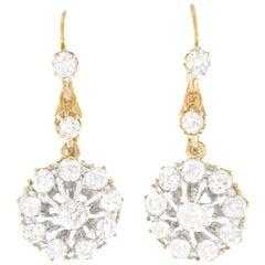 Art Deco Diamond Drop Gold Earrings