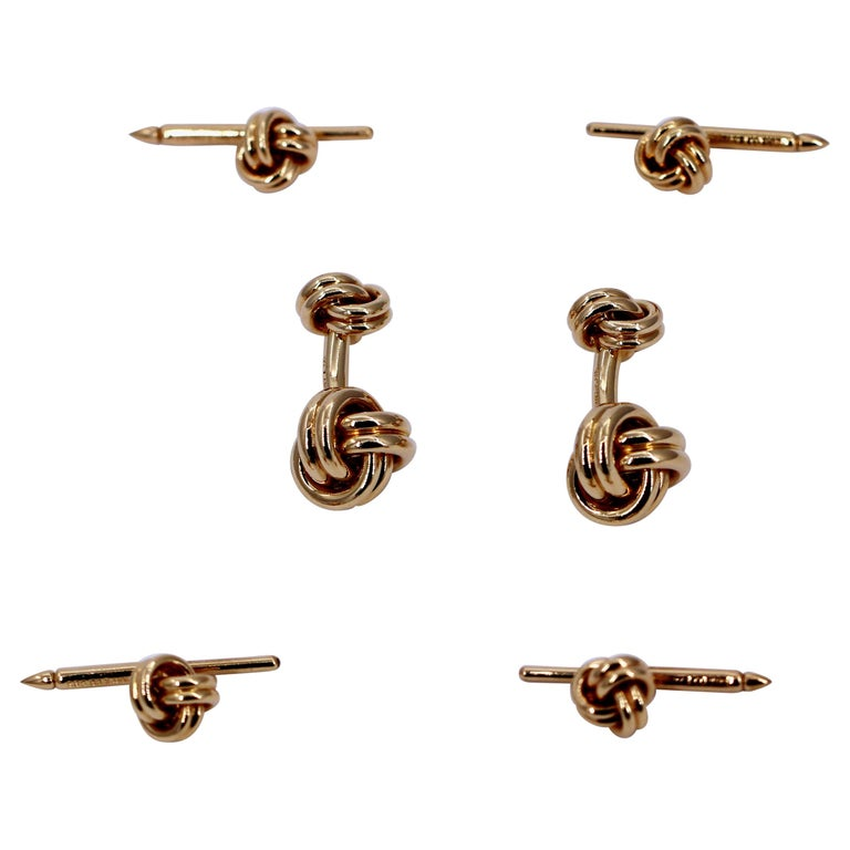 71755b788 Tiffany and Co. Gold Knot Cufflink and Four Button Stud Set For Sale ...
