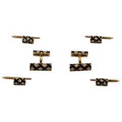 Gold Cufflink and Four Button Stud Set with Black Enamel and Diamonds