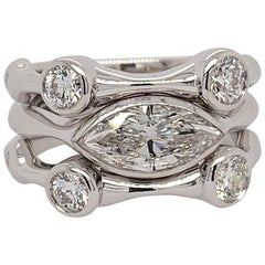 White Gold 1.63 Carat Natural Colorless Marquise & Round Diamond Stack Ring Set