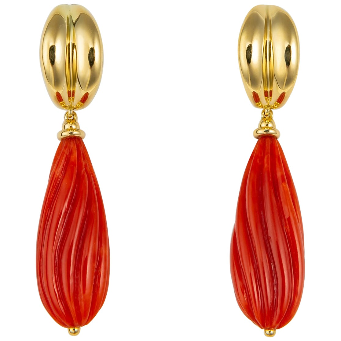 Vintage Tiffany & Co. Carved Coral Drop Earrings