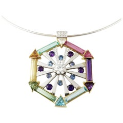 Hex, Paraiba Tanzanite and Various Gems 18 Karat Gold Contemporary Necklace