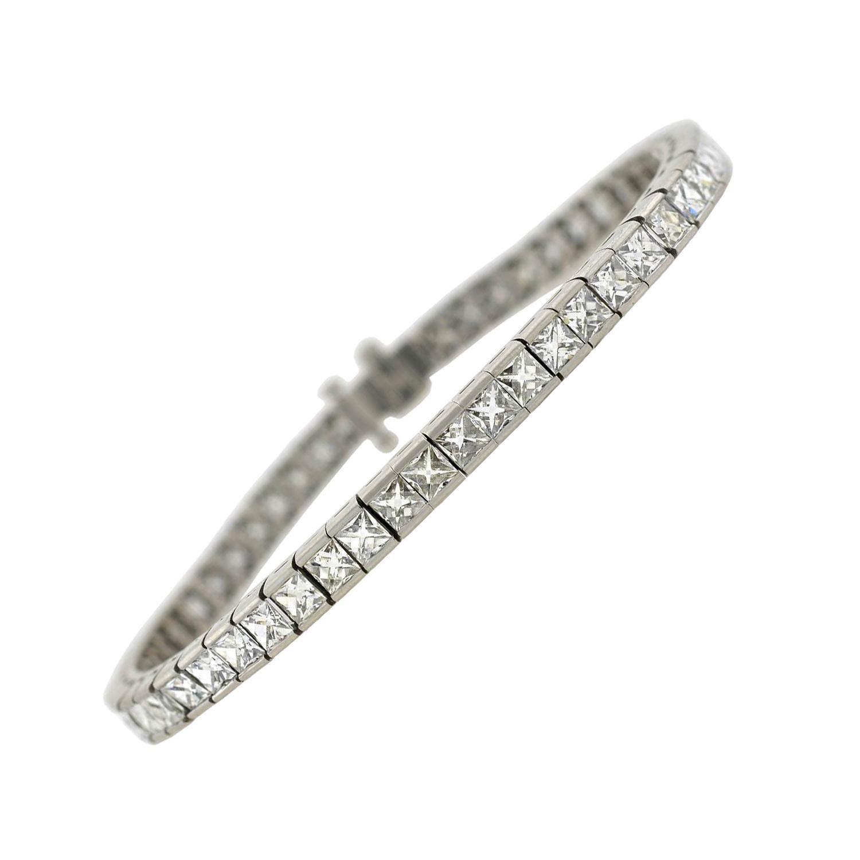 Contemporary French Cut Diamond Line Bracelet 11.60 Carat