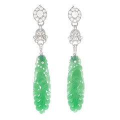 Lawrence Jeffrey Deco Inspired Jade and Diamond Set Platinum Earrings
