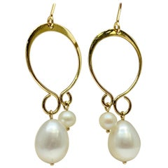 Yellow Gold Fancy Staggered Pearl Drop Earrings