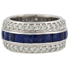 Contemporary 4.00 Total Carat Diamond and French Cut Sapphire Eternity Band