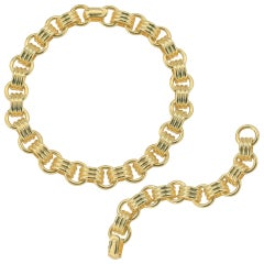 14 Karat Yellow Gold Italian Gold Custom Link Necklace and Bracelet