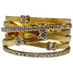Yellow Gold Intertwined 0.37 Carat Diamond Cocktail Ring