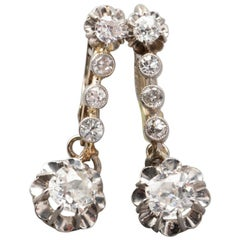 1.10 Carat French Gold and Diamonds Art Deco Earrings