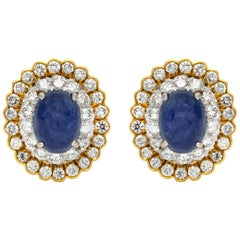 David Webb Sapphire and Diamonds Clip Earrings