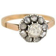 Victorian 0.80 Total Carat Rose Cut Diamond Cluster Ring