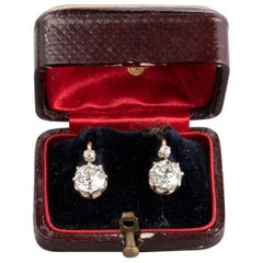 2.60 Carat Antique Belle Époque Gold and Diamonds French Earrings