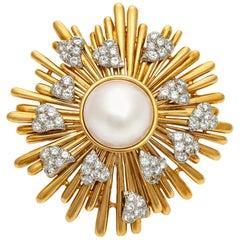 David Webb Gold and Pearl Sun Brooch with Diamond Hearts