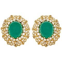 David Webb Emerald and Diamonds Clip Earrings