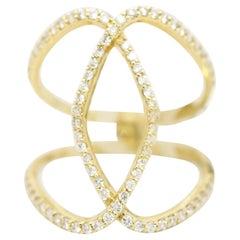 Morris & David 14 Karat Yellow Gold 0.75 Carat Diamond Open Overlap Ring