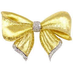 Large 18 Karat Gold and Diamond Bow Brooch