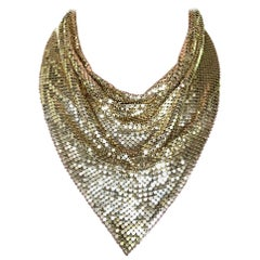 1970s Whiting and Davis Golden Metal Mesh Disco Necklace