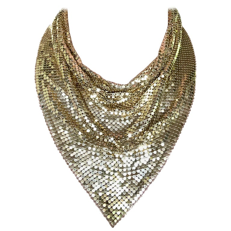 1970s Whiting and Davis Golden Metal Mesh Disco Necklace For Sale