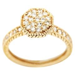 Morris & David 14 Karat Yellow Gold 0.50 Carat Diamond Pave Ring