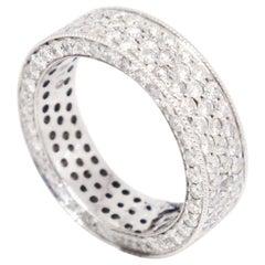 14 Karat White Gold 3.10 Carat Pavé Diamond Eternity Wide Band Ring