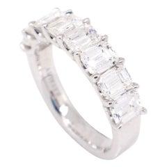 18 Karat White Gold 2.75 Carat Emerald Cut Diamond Band Ring