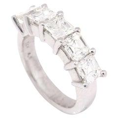 14 Karat White Gold 2.42 Carat Five-Stone Asscher Cut Diamond Ring