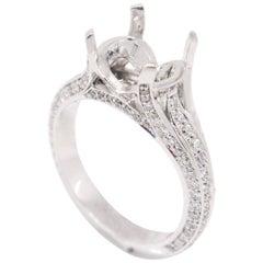 18 Karat White Gold 0.94 Carat 3-Row Pave Diamond Engagement Semi Mount Ring