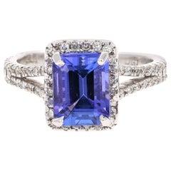 2.65 Carat Emerald Cut Tanzanite Diamond 14 Karat White Gold Engagement Ring