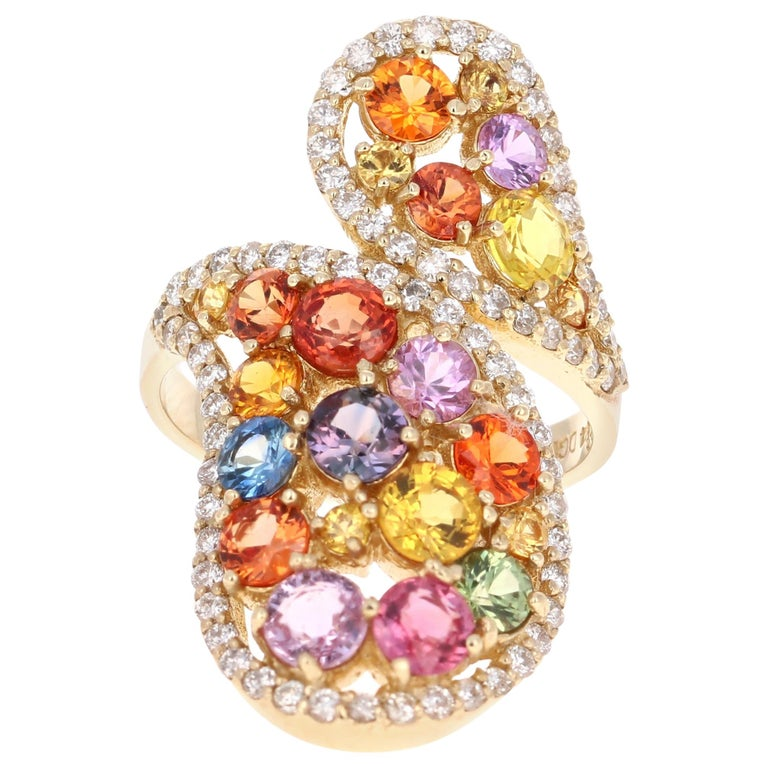 5.27 Carat Multicolored Sapphire Diamond 14 Karat Yellow Gold Cocktail Ring For Sale