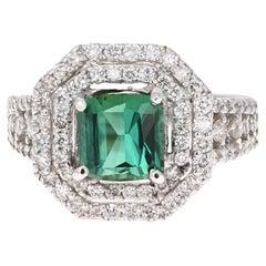 3.04 Carat Green Tourmaline and Diamond Ring 14 Karat White Gold Ring