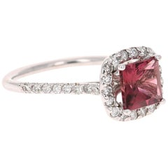 1.67 Carat Tourmaline Diamond 14 Karat White Gold Ring
