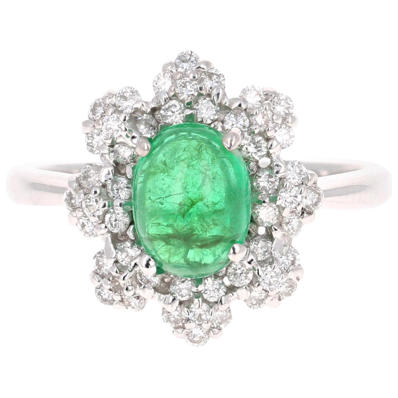 2.27 Carat Emerald Diamond 18 Karat White Gold Ring GIA Certified