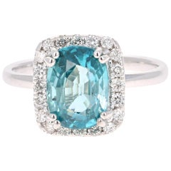 4.28 Carat Blue Zircon Diamond 14 Karat White Gold Ring