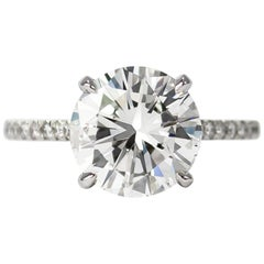 J. Birnbach GIA Certified 4.01 Carat F SI2 Brilliant Round Diamond Ring
