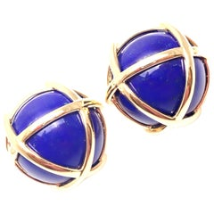 Verdura Caged Lapis Lazuli Yellow Gold Earrings