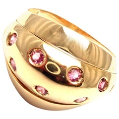 Versace Starlight Pink Sapphire Yellow Gold Dome Ring