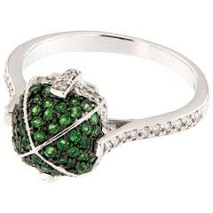 Goshwara 18 Karat White Gold Sugarloaf Tsavorite Diamond Ring